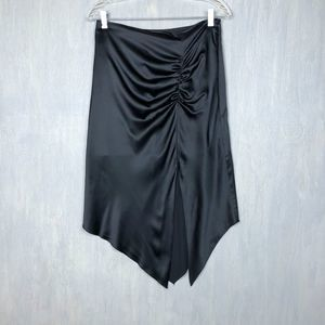 Kenzie silk satin asymmetric skirt black 6